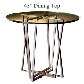 "Pictured is the Forrest 48"" Dining Table with custom iron finish and top options for you to choose. Comfortably seats 4 to 6"