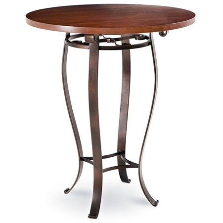 Pictured here is the Camino Bar Height Table with 36-in top, available in custom iron finishes and various wood, glass or stone table tops to choose from.