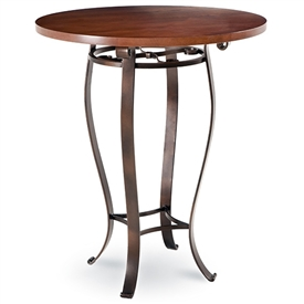 Pictured here is the Camino Counter Height Table with 36-in top, available in custom iron finishes and various wood, glass and stone table tops to choose from.
