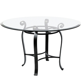"Pictured is the Camino 48"" Dining Table with custom iron finish and top options for you to choose. Comfortably seats 4 to 6"