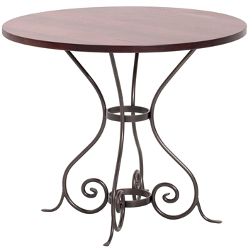 "Pictured is the Euro 48"" Dining Table with custom iron finish and top options for you to choose. Comfortably seats 4 to 6"