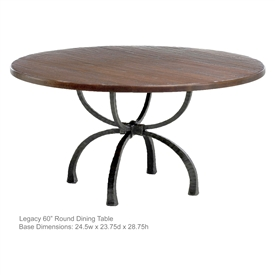 "Pictured is the Legacy 60"" Dining Table with custom iron finish and top options for you to choose. Comfortably seats 8"