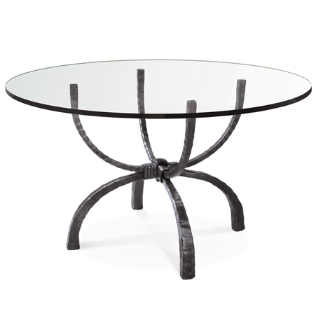 Pictured is the Legacy Round Dining Table with custom iron finish and top options for you to choose. Comfortably seats 4 to 6