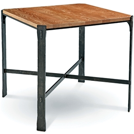 Pictured is the 36-in square transitional style Woodland Bar Height Table with hand-forged iron base and thick wood slab table top from Charleston Forge.