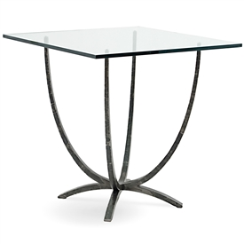 Pictured is the 54-in square Triumph Iron Bar Counter Height Table with hand-forged iron table base and glass table top made by Charleston Forge.