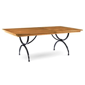 Pictured is the Blackberry Road Extension Dining table with hand-forged iron table base and wood table top from Charleston Forge.