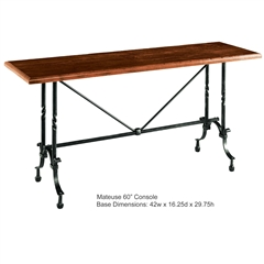 Pictured is the Charleston Forge manufactured Mateuse Console Table that measures 60-in x 16.25-in x 31-in with custom iron finishes and table top options to choose from.