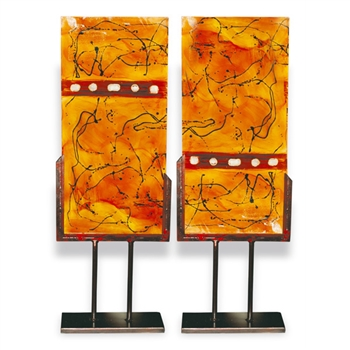 Pictured here is the Red Gold Accent Panel art piece with hand painted panel mounted to a decorative stand