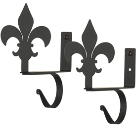 Wrought Iron Fleur-de-lis Curtain Shelf Brackets