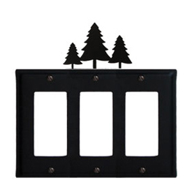 Wrought Iron Pine Trees Triple GFI Cover