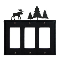 Wrought Iron Moose Triple GFI Cover Pine Trees