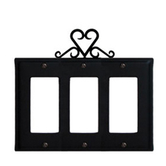 Wrought Iron Heart Triple GFI Cover