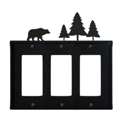 Wrought Iron Bear Triple GFI Cover Pine Trees