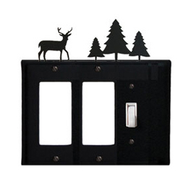 Wrought Iron Deer Single GFI Cover Pine Trees