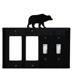Wrought Iron Bear Combination Cover - Double GFI Left with Double Switch Right