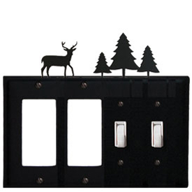 Wrought Iron Deer Combination Cover - Double GFI Left with Double Switch Right Pine Trees