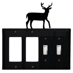 Wrought Iron Deer Combination Cover - Double GFI Left with Double Switch Right