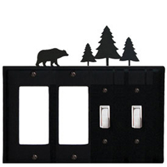 Wrought Iron Bear Combination Cover - Double GFI Left with Double Switch Right Pine Trees
