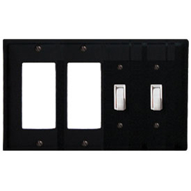 Wrought Iron Plain Combination Cover - Double GFI Left with Double Switch Right