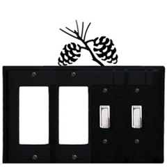 Wrought Iron Pinecone Combination Cover - Double GFI Left with Double Switch Right
