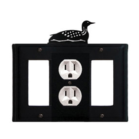 Wrought Iron Loon Combination Cover - Single Center Outlet with Left and Right GFI