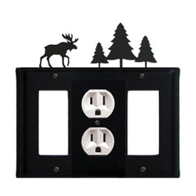 Wrought Iron Moose Combination Cover - Single Center Outlet with Left and Right GFI Pine Trees