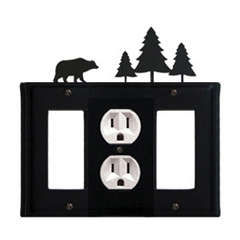Wrought Iron Bear Combination Cover - Single Center Outlet with Left and Right GFI Pine Trees