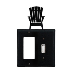 Wrought Iron Adirondack Combination Cover - Single GFI with Single Switch