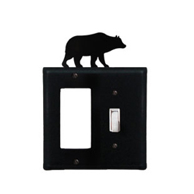 Wrought Iron Bear Combination Cover - Single GFI with Single Switch