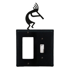 Wrought Iron Kokopelli Combination Cover - Single GFI with Single Switch