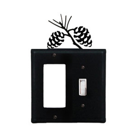 Wrought Iron Pinecone Combination Cover - Single GFI with Single Switch