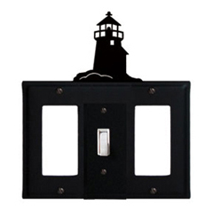 Wrought Iron Lighthouse Combination Cover - Single Center Switch with Left and Right GFI