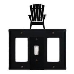 Wrought Iron Adirondack Combination Cover - Single Center Switch with Left and Right GFI