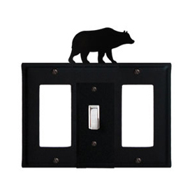 Wrought Iron Bear Combination Cover - Single Center Switch with Left and Right GFI