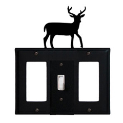 Wrought Iron Deer Combination Cover - Single Center Switch with Left and Right GFI