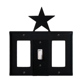 Wrought Iron Star Combination Cover - Single Center Switch with Left and Right GFI
