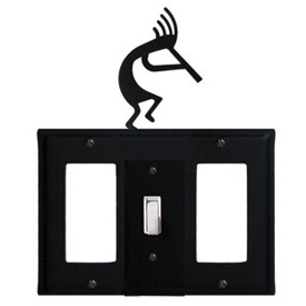 Wrought Iron Kokopelli Combination Cover - Single Center Switch with Left and Right GFI