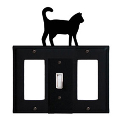 Wrought Iron Cat Combination Cover - Single Center Switch with Left and Right GFI