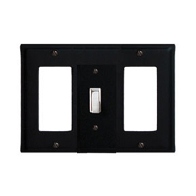 Wrought Iron Plain Combination Cover - Single Center Switch with Left and Right GFI