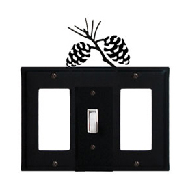 Wrought Iron Pinecone Combination Cover - Single Center Switch with Left and Right GFI