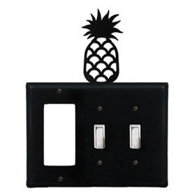Wrought Iron Pineapple Combination Cover - Single GFI with Double Switch