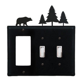 Wrought Iron Bear Combination Cover - Single GFI with Double Switch Pine Trees