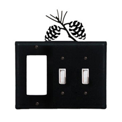 Wrought Iron Pinecone Combination Cover - Single GFI with Double Switch