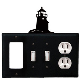 Wrought Iron Lighthouse Combination Cover - GFI with Double Switch Center and Outlet
