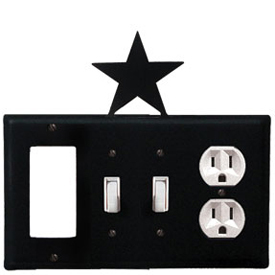 Wrought Iron Star Combination Cover - GFI with Double Switch Center and Outlet