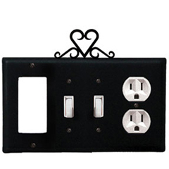 Wrought Iron Heart Combination Cover - GFI with Double Switch Center and Outlet