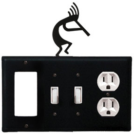 Wrought Iron Kokopelli Combination Cover - GFI with Double Switch Center and Outlet