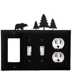 Wrought Iron Bear Combination Cover - GFI with Double Switch Center and Outlet Pine Trees