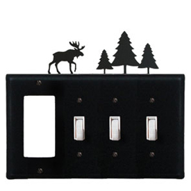 Wrought Iron Moose and Pine Trees Combination Cover - GFI with Triple Switch