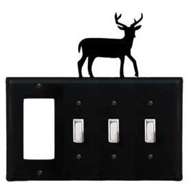 Wrought Iron Deer Combination Cover - GFI with Triple Switch